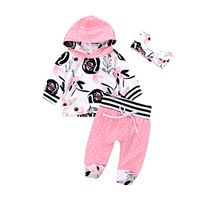 Popular Baby Girls Clothing Set Newborn Infant Outfits Suits Cotton 3PCS Printed Long Hoodied Pink Baby