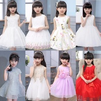 2017 Summer Girls Dress Sleeveless Princess Party Clothes for 3-12Years Kids Fres Shipping