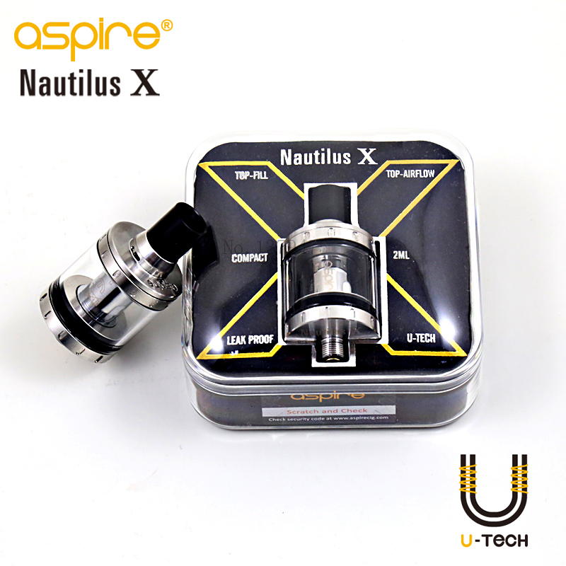 100% Original Aspire Nautilus X 2Ml Clearomizer E Vaporizer Aspire Electronic Cigarette Nautilus X U-Tech Coil Atomizer 1Pcs/Lot original fumytech dragon ball rdta atomizer dragonball culture cystal ball rdta electronic cigarette atomizer vaporizer
