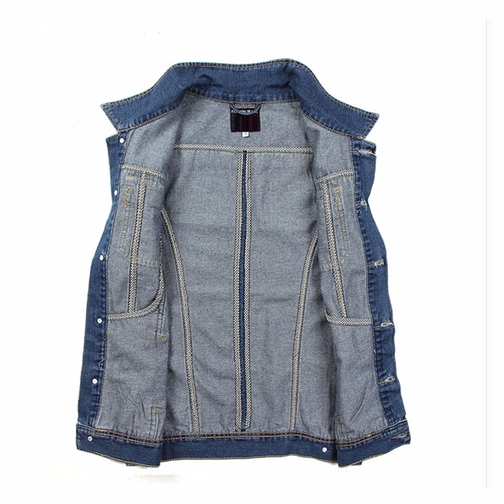 Men Vest Denim Vests Coat Male Hole Sleeveless Jean Jacket Hole Jeans Waistcoat Plus Size 2016