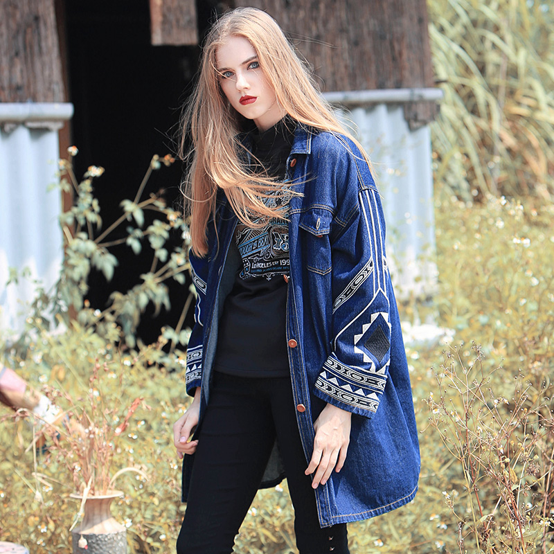 Spring Fashion font b Womens b font Punk Denim Jacket Top Brand Long Coats Outwear Female