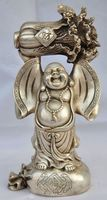8.66 inch/Chinese hand carved Tibetan silver Maitreya Buddha the cabbage Statue