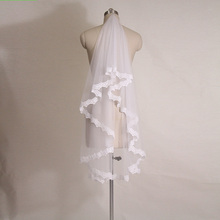 in stock  cheap short wedding veils white/ivory one layer lace bridal veils  wedding accessories