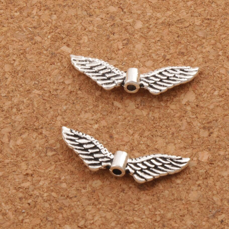 25pcs Wing Charms Bird Angel Wings Charm Antique Silver Tone Charm Hollow Design