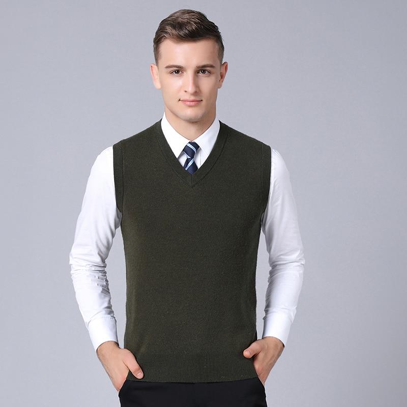 Nouveau 2018 automne et hiver mâle épais pur laine pull gilet hommes col en v solide 100% laine sans manches pull pulls