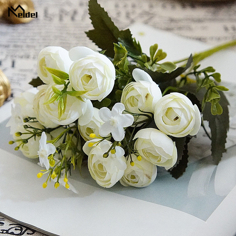 rose flowers artificial bouquet wedding fake flower (4)