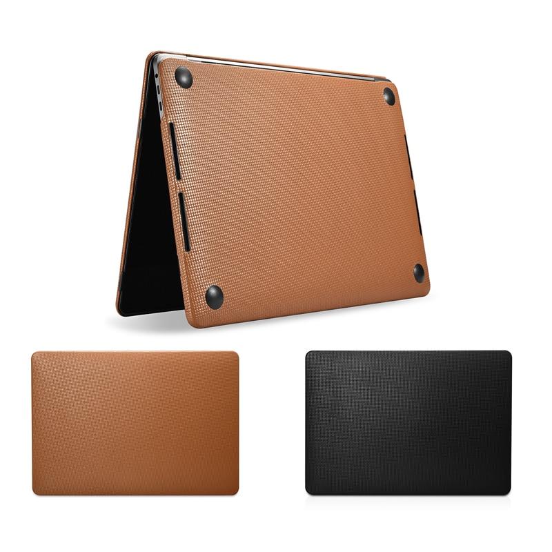 Housse d'ordinateur portable pour Macbook Pro 13 A1706 A1708 A1989 motif tissé étui en cuir véritable pour Macbook Pro 15 A1707 A1990 2018