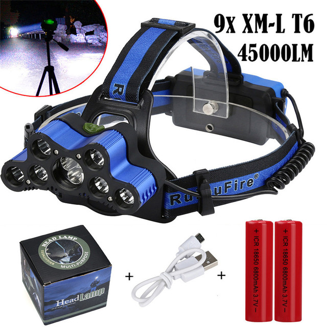 2018 New Super 45000 LM 9X XM-L T6 LED USB 2x18650 Battery Rechargeable Headlamp Headlight Travel Head Torch Dropshipping 0104