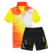 New  sports series wicking breathable clothing badminton men's t-shirt table tennis clothes suit shirt + shorts L5020AB