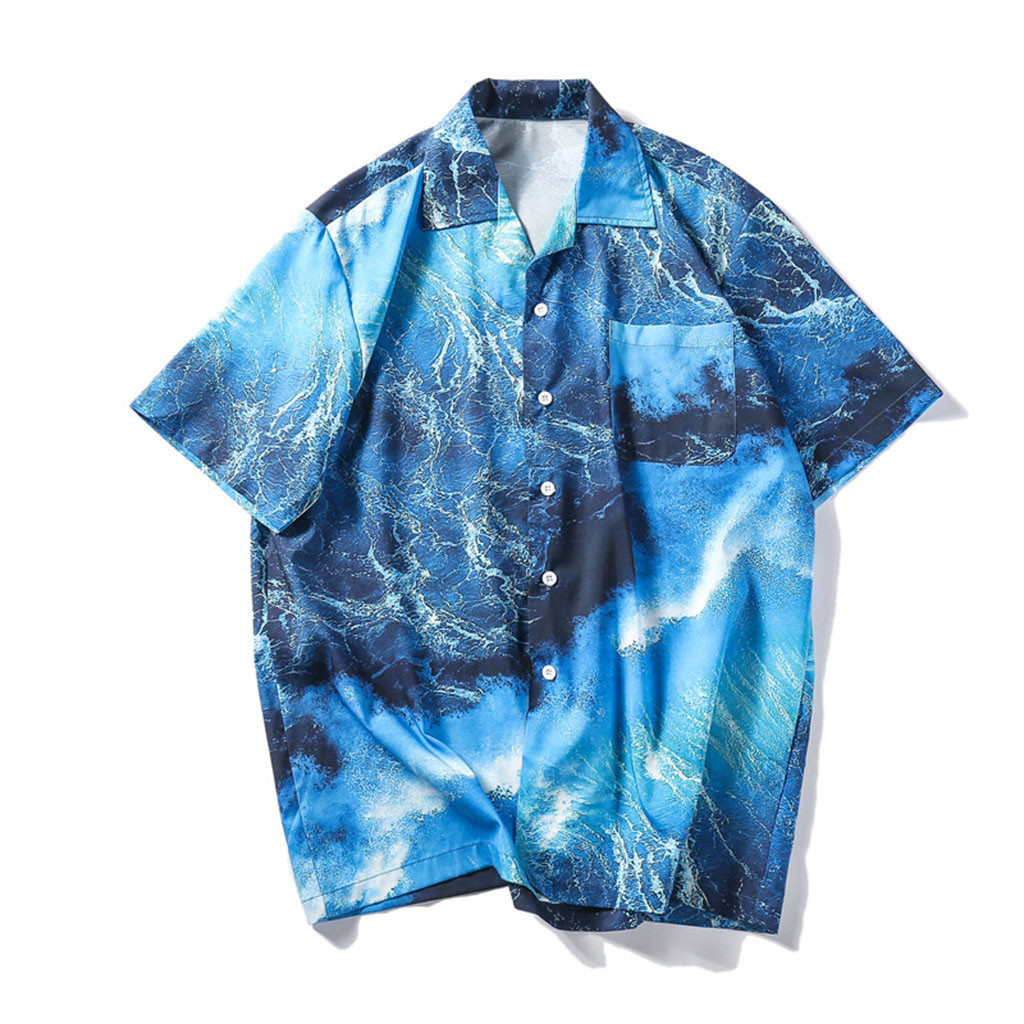 Womail 2019 New Arrival Hot Fashion Summer Shirts Men Polyester Creative Pattern Shirts Casual Short Sleeve Beach Loose Blouse
