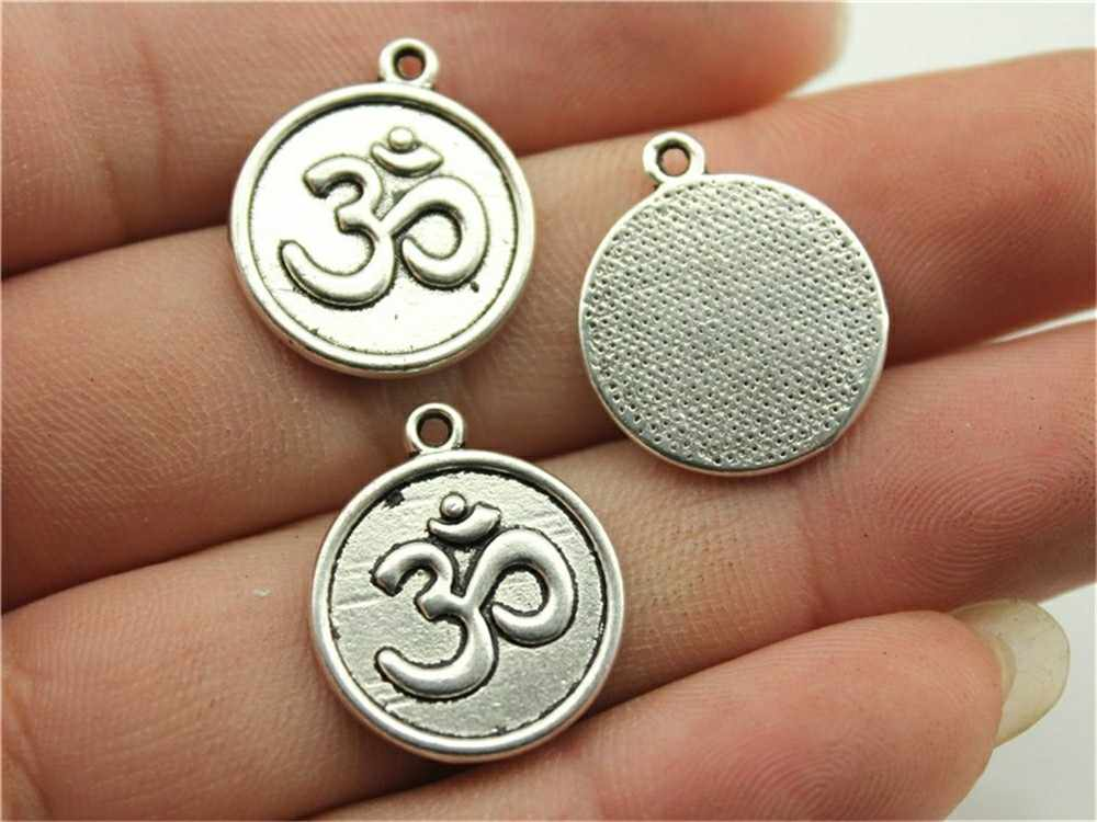 10pcs Charms Om Vintage Antique Silver Plated Om Pendant Charms Yoga Om Charms Jewelry Accessories