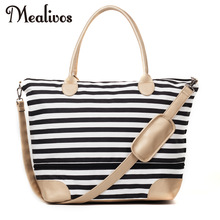 Mealivos 2017 Fashion Black Stripe och Gold Canvas Weekender Tygväska Övernattning Travel Carry On Duffel Väskor AV GRIDEN