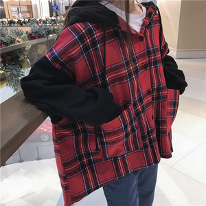Image 4 - Hoodies Thicker Oversize Women Hooded Patchwork Chic Plaid Batwing Sleeve Korean Style Trendy Womens Casual Sweatshirts Students