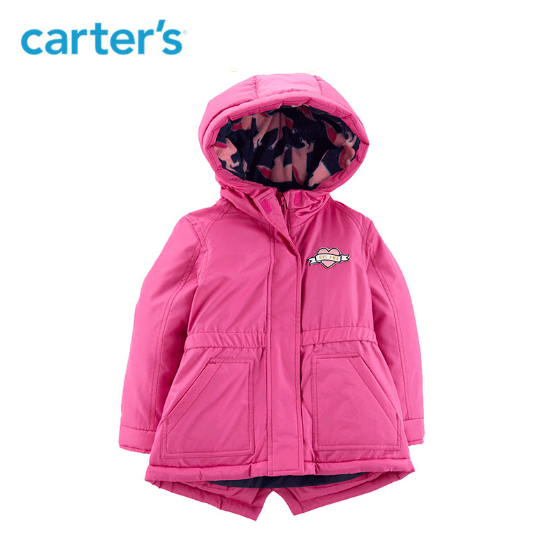 Carter's autumn winter fashion baby girl hooded long sleeve fleece warm coat baby clothing CL2187X6 stylish long sleeve fleece lined hooded coat for women