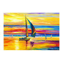 100% Hand Painted Golden Ocean Sailing Oil Painting On Canvas Wall Art Adornment Pictures For Live Room Home Decor