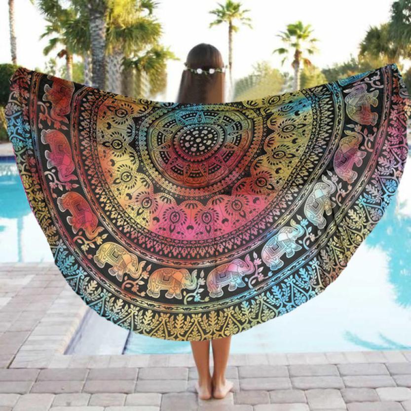 Yoga Mats Round Beach Pool Blanket Table Cloth Bohemia India Elephant Mandala Tapestry Bikini Cover Up