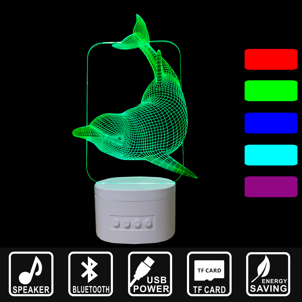 Bluetooth Speaker color change along with Music Nightlight 3D LED USB Nightlight Lovely Dolphin Home decor Lamp as gift IY803437 ночники beaba переносной светильник ночник usb pixie nightlight soft