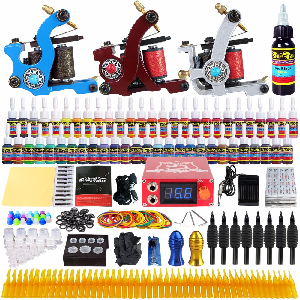 Solong Tattoo complete professional 3 tattoo Machine Guns set Tattoo Kit 54 Inks Power Supply Needle Grips power supply TKc02 europe god of darkness robert recommend gp self lock grips gp3 professional tattoo artist grip