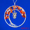 JUWEILI Jewelry New Classy Natural Stone Round Tree Of Life Owl Charm Pendant Necklace Amethyst Agate Citrine Crystal Retail 1x