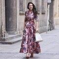Xxxl dress novo estilo da marca de moda 2017 mulheres primavera pista jacquard prints meia manga vestidos de baile do partido vestidos feminino festa