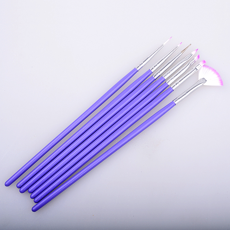 Nouveau 7 pièces/ensemble Violet Nail Art Design Brosse peinture à la main Qui Parsèment Brosses Stylo Set Manucure Outils