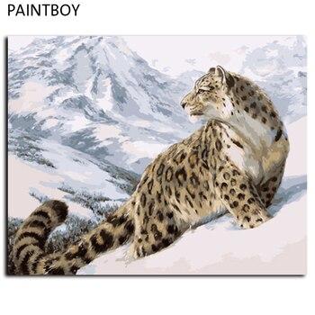 레오파드 벽 아트 액자 그림 번호로 그림 diy 디지털 유화 캔버스 홈 장식 거실 gx7471