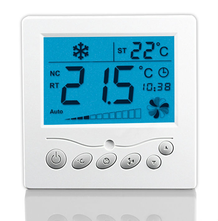 Large LCD TFAEY-307L 220VAC Room Thermostat With Backlight For Fan Coil And Motorized Valve