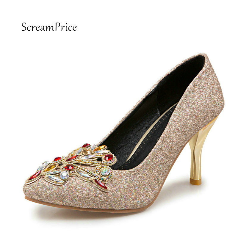 Fashion Pointed Toe Crystal Lazy High Heel Shoes Sequined Cloth Shallow Wedding Pumps Thin Heel Red Gold Purple baoyafang bling womens wedding shoes high heels pumps women fashion shoes pointed toe ladies shallow sequined cloth female shoes