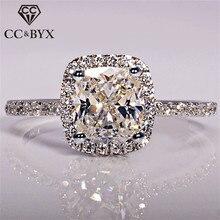 CC 925 пробы серебряные кольца для женщин Свадебные анелли модные ювелирные изделия помолвка белое золото цвет Anillos Mujer CC595