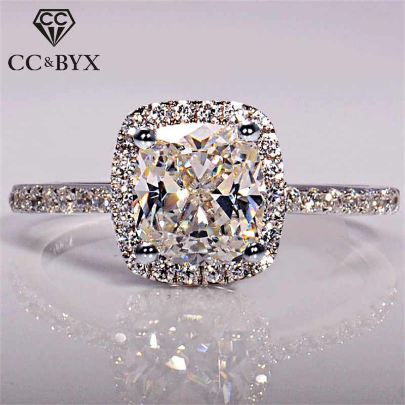 CC 925 Sterling Silver Rings For Women Bridal Wedding Anelli Trendy Jewellery Engagement White Gold Color Anillos Mujer CC595