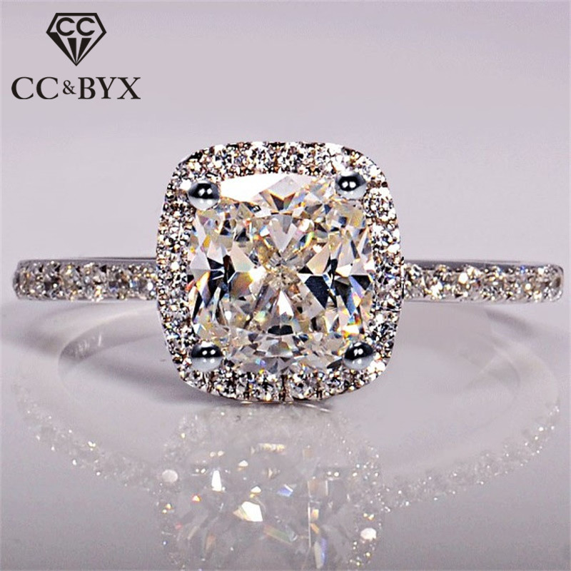 CC S925 Sterling Silver Color Rings For Women Bridal Wedding Anelli Trendy Jewelry Engagement White Gold Color Anillos CC595