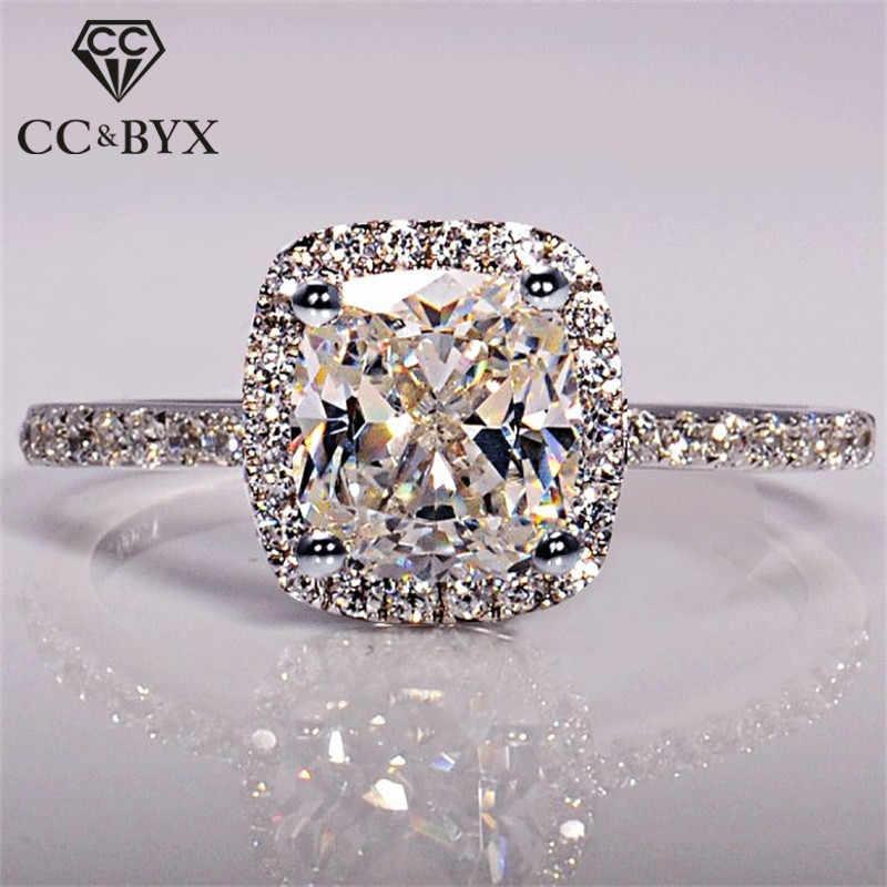 Cc Ringen Voor Vrouwen Bridal Wedding Anelli Trendy Sieraden Engagement Ring Wit Goud Kleur Anillos CC595