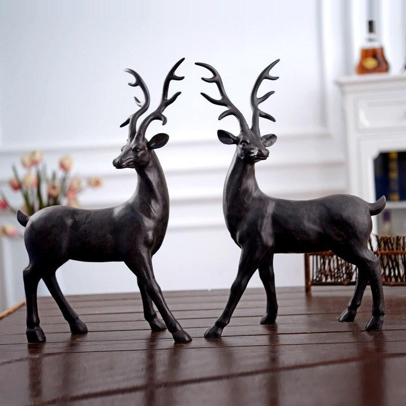 Pays américain résine-vintage cerf artisanat ameublement l'ancien wapiti ménage résine cerf décoration nouvelle maison présente