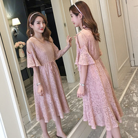 6938# Sweet Pink Lace Maternity Long Dress 2019 Summer Korean Fashion Party Dress Clothes for Pregnant Women Slim Sexy Pregnancy