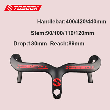 TOSEEK 3K Carbon Fiber Handle Bar Road Bike Integrated Handlebar Racing Stem Road Bike Bar Ultralight 400/420/440mm
