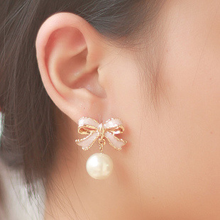 Pink rose gold clip on earrings pearl,bowknot cushion without pierced ear clip золотые серьги по уху