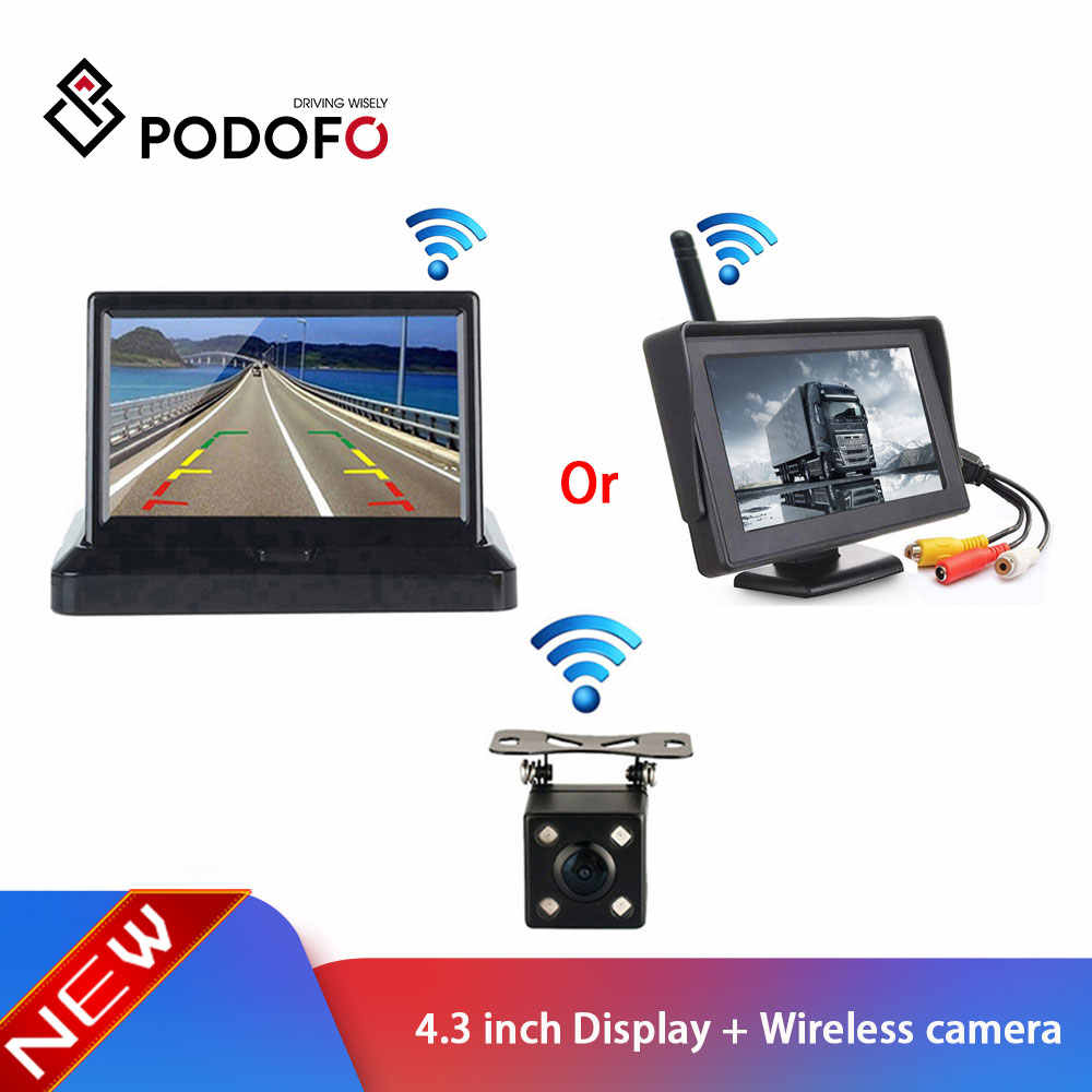 Podofo 4.3 inch high definition Car Rear View System display For RV car bus + Car Backup HD Reverse Rear View Cameras