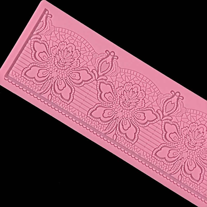 Minsunbak Rose wzór koronki formy silikonowe słodka koronka Pad tort weselny krawędzie ozdobne foremki narzędzie do majsterkowania