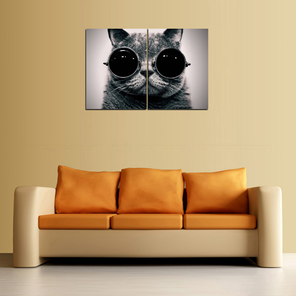 2 Panel Canvas Print Cat With Eyeglasses painting On Canvas Wall Art ...