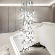 Nordic Led Pendant Lamp Crystal Pendant Lights Modern Stairwell Long Living Room Stair Hanging Lamps Decor Lighting Luminaria led pendant irregular crystal ball chandeliers for stairwell stair lighting g4 led chandelier bar nordic restaurant crystal lamp