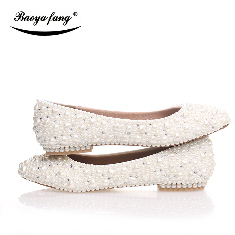 BaoYaFang Beige Pearl Crystal Womens Wedding Shoes Flat Big Size Female Shoes Real Leather Insole Woman Shoes Bridal Party Shoes