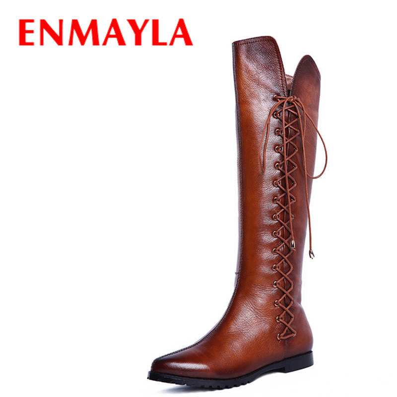 ENMAYLA Black Brown Flats Pointed Toe Knee High Boots Autumn Winter Flats Shoes Woman Lace-Up Long Boots Women Motorcycle Boots enmayla winter autumn round toe low heel knee high boots women flats lace up shoes woman rider brown black suede motorcycle boot