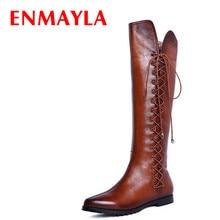 Enmayla чёрный; коричневый на плоской подошве острый носок сапоги до колена осень-зима женские туфли на плоской подошве на шнуровке ботинки с высоким голенищем Женские мотоциклетные ботинки