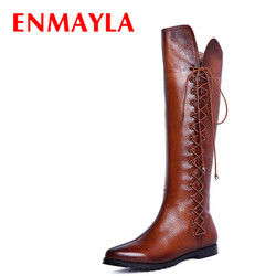 Enmayla black brown flats pointed toe knee high boots autumn winter flats shoes woman lace up.jpg 250x250