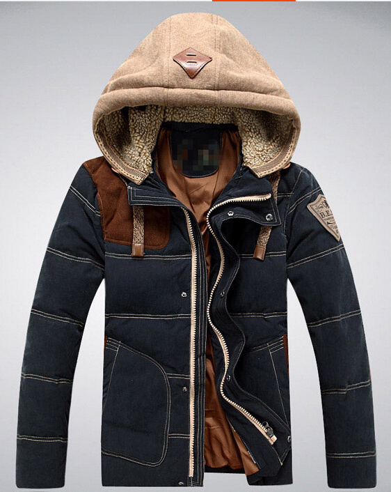 15 new hot fashion mens business casual short section of cultivating warm down jacket lamb cap free shipping