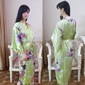 Green Plus Size Satin Women's Robe For Bridesmaid Nightgown Print Kimono Yukata Bath Gown Flower Sleepwear Bathrobe Summer010501