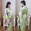 Verde Más El Tamaño de Satén Túnica de Las Mujeres De Dama de Honor de Impresión Camisón Yukata Kimono ropa de Dormir Albornoz de Baño Vestido Flor Summer010501