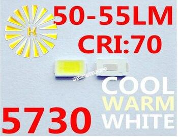 16000 piezas x 5730 blanco cálido blanco frío blanco 0,5 W 50-55LM Ultra brillante SMD LED indicación