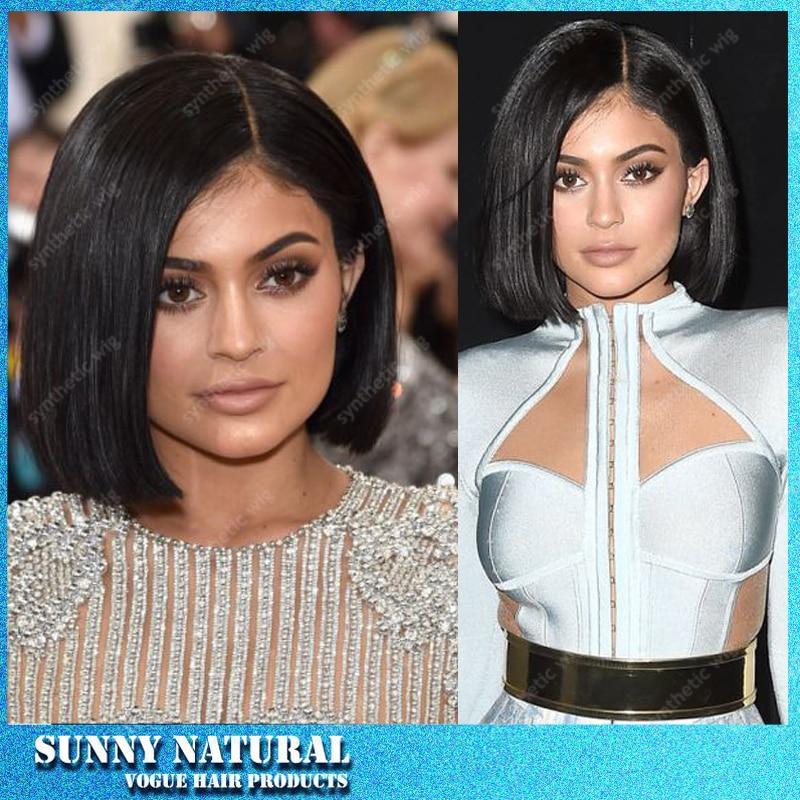 Kylie Jenner Short Bob Hair Wig Natural Black Short Haircut Synthetic Lace Front Wig Heat Resistant Fiber Wig For Black Women Synthetic Lace Front Wig Fiber Wigswigs For Blacks Aliexpress