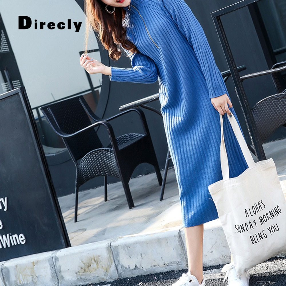 Direcly knit dress 2018 autumn and winter female loose high collar zipper knee long section ladies wool dress thick sweater